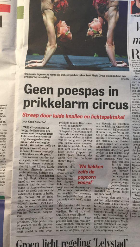 Afbeelding van het artikel in De Telegraaf